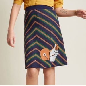 NWT ModCloth Teeberry & weave squirrel skirt knit